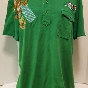 Vintage Retro Custo Barcelona Polo Shirt Tiger